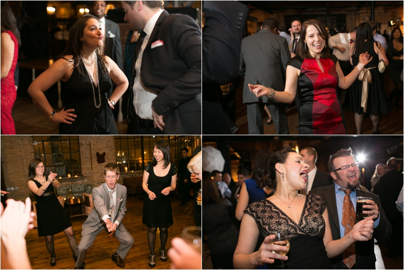 Winter wedding reception at Salvage One in Chicago