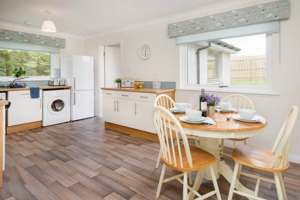 The spacious kitchen boasts an impressive array of all that may be  required for a holiday  ( or short stay in off-peak season, contact us for details).