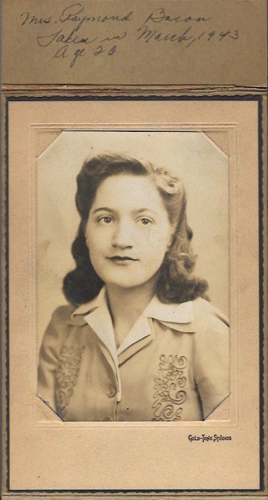 Mrs. Raymond Bacon, taken in March 1943, age 20