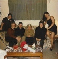 Christmas Eve, 2002. Nonie was Queen for a Day on her birthday that year