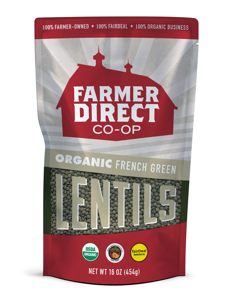 Organic, fairDeal French Green Lentils from Farmer Direct Co-op