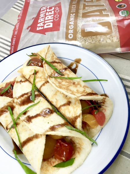 Easy Tomato-Basil Cottage Cheese Crepes are a perfect, healthier breakfast.