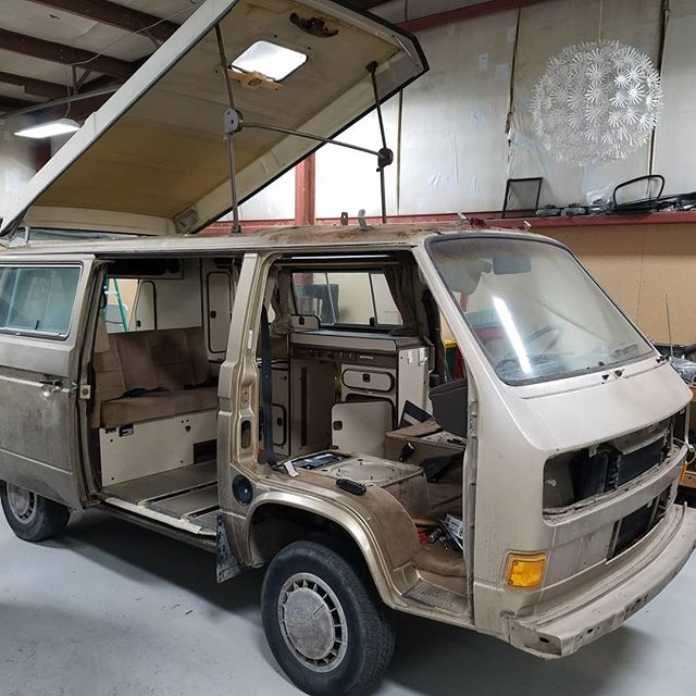 Getting it all stripped down for paint. She decided to change the color to white so it needs to be painted inside and out! #vanlife #vanagonlife #westylife