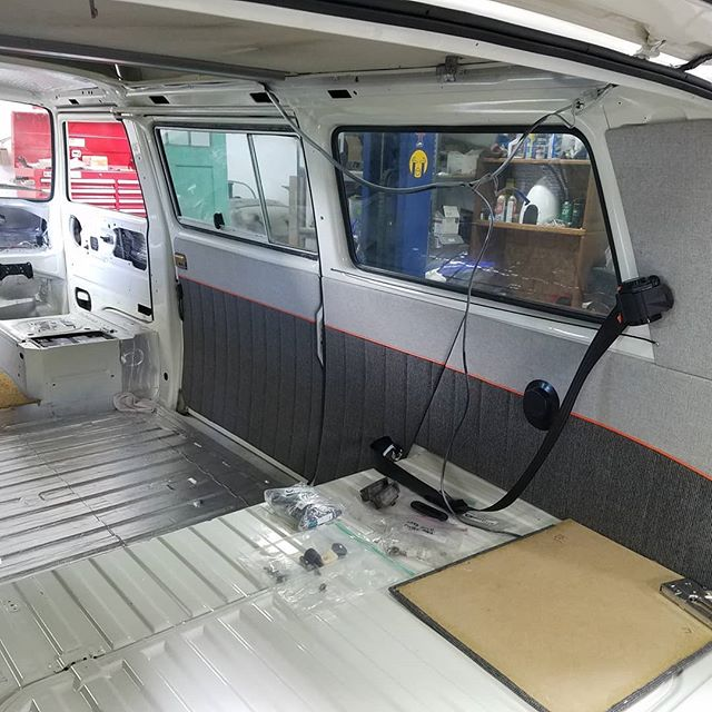 Some new interior going in from Sew Fine in Denver, CO. #vanlife #vanagonlife #westylife