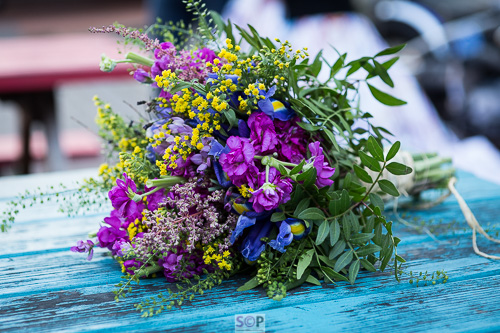 wild flower bouquet purple and yellow