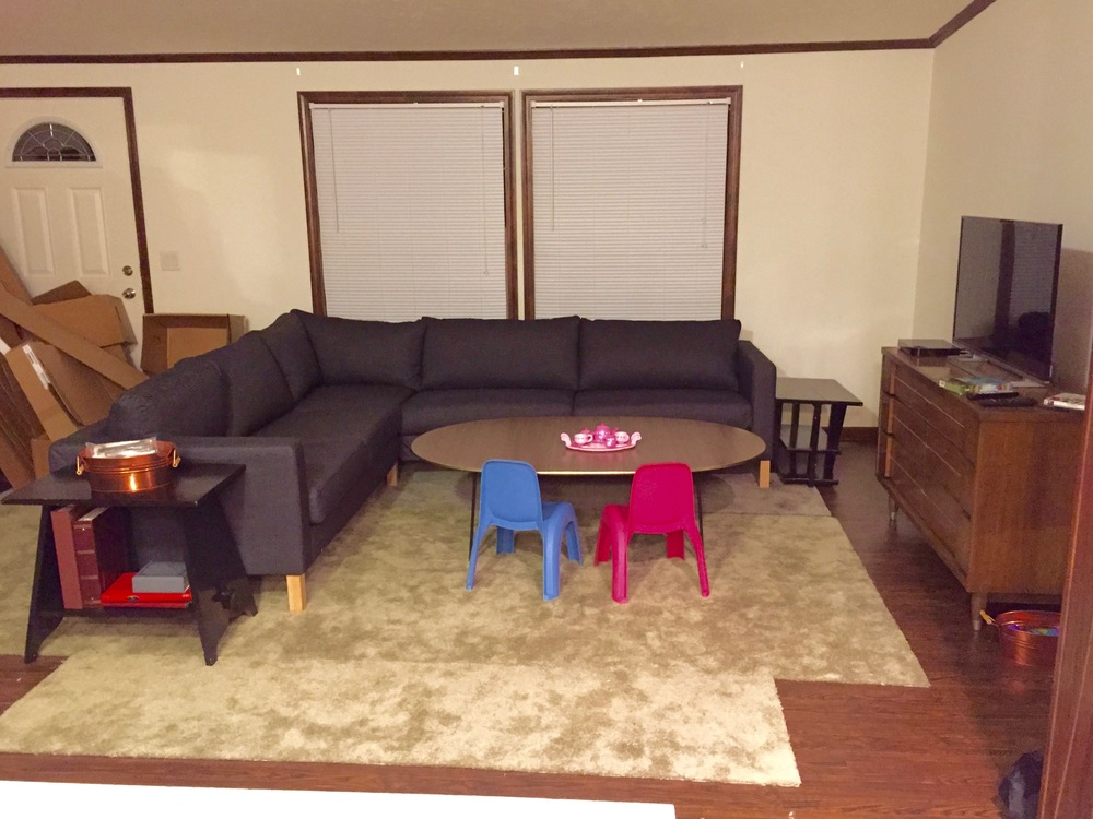 BEFORE: IKEA Karlstad L-shaped sofa