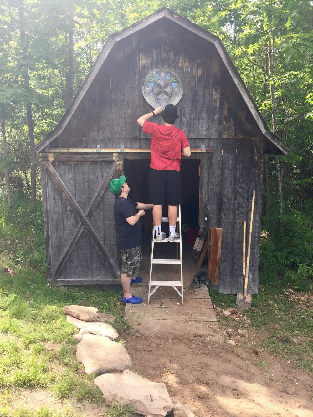 During: Putting a hex sign on our shed