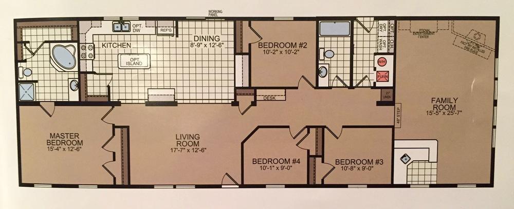 Double-Wide Floor Plan: 5 Bedrooms in 1600 Square Feet — Brooklyn on 5 foot bathroom vanities, 8x6 bathroom plan, 11 x 7 bathroom plan, 5 piece bathroom floor plan,