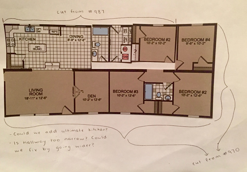 After Much Deliberation And Doodles On Graph Paper, I Took Two Floor Plans  From Titanu0027s Multi Section Homes Catalog, #970 And #987 And Pasted Them  Into A ...