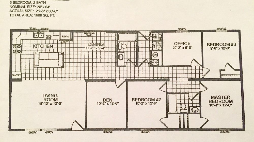 Two of the five bedrooms don t have closets  which makes them not quite  bedrooms  Technically speaking  they re a den and an office. Double Wide Floor Plan  5 Bedrooms in 1600 Square Feet   Brooklyn