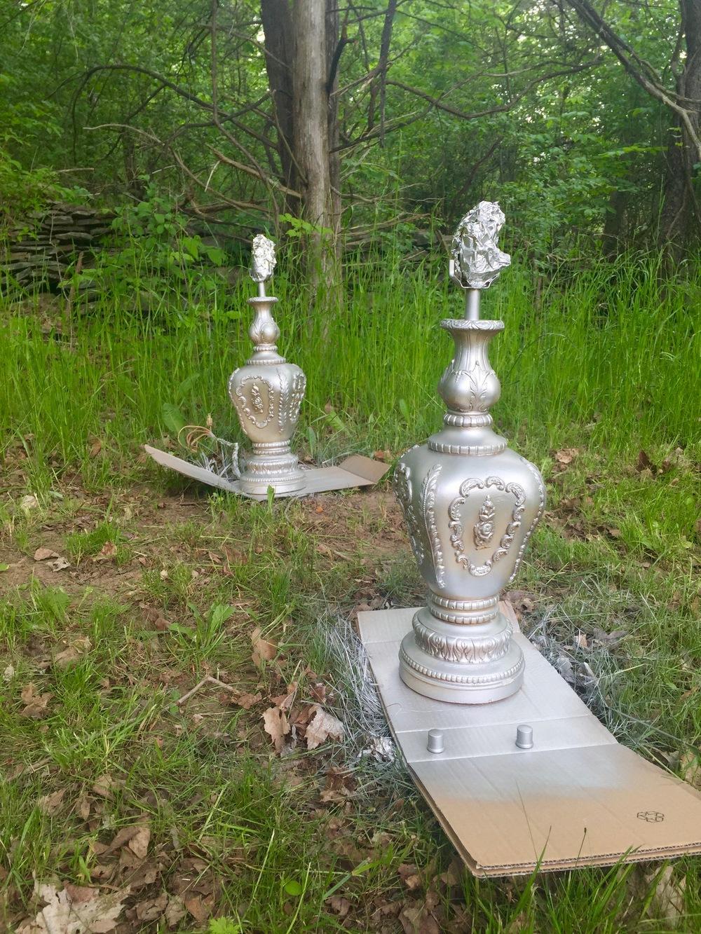 Spray-painted lamps in Krylon metallic silver | BrooklynDoubleWide.com