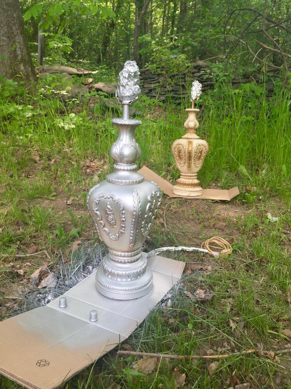Spray-painted lamp in Krylon metallic silver | BrooklynDoubleWide.com