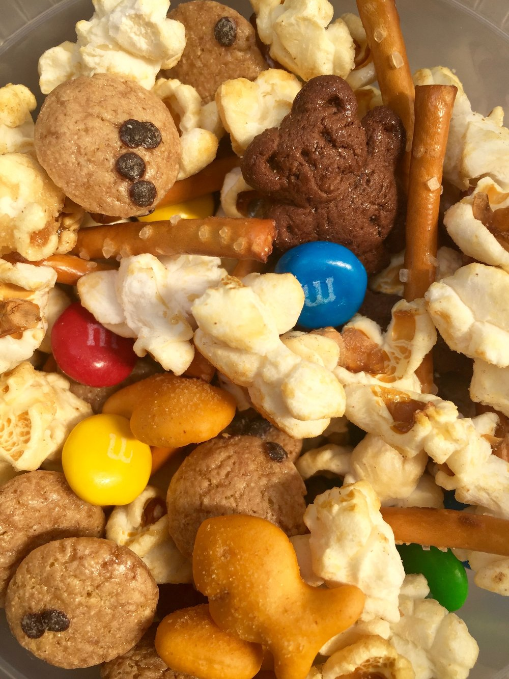 Trashy Trail Mix : Cookie Crisp, Teddy Grahams, Goldfish, M&M's, popcorn, and pretzel sticks