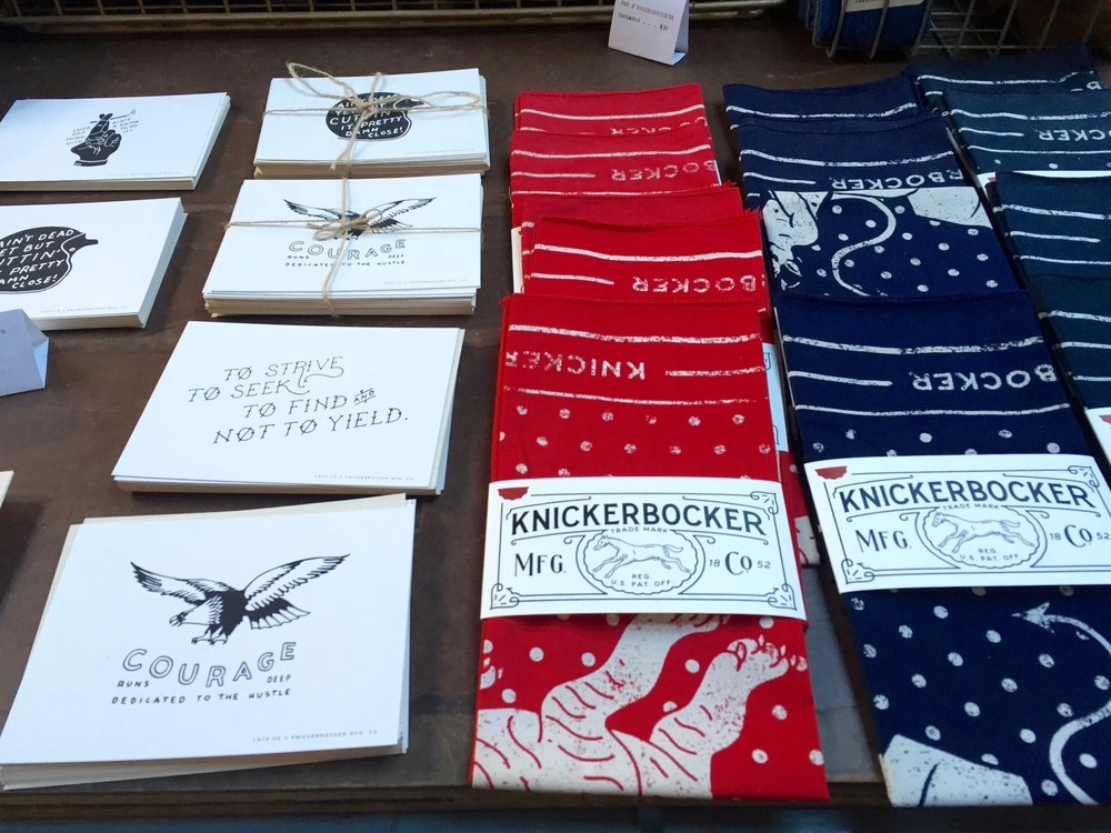 Knickerbocker Mfg. Co. bandanas  and cards that are masculine enough for dudes to give and receive.