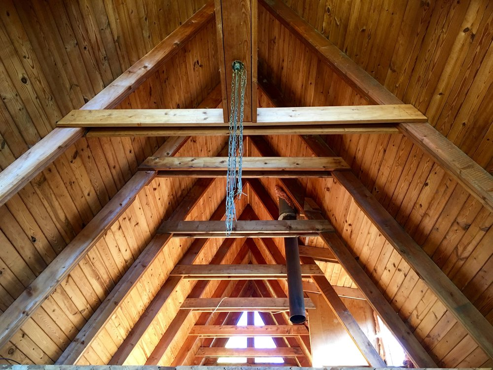 ceiling of a-frame house, interior