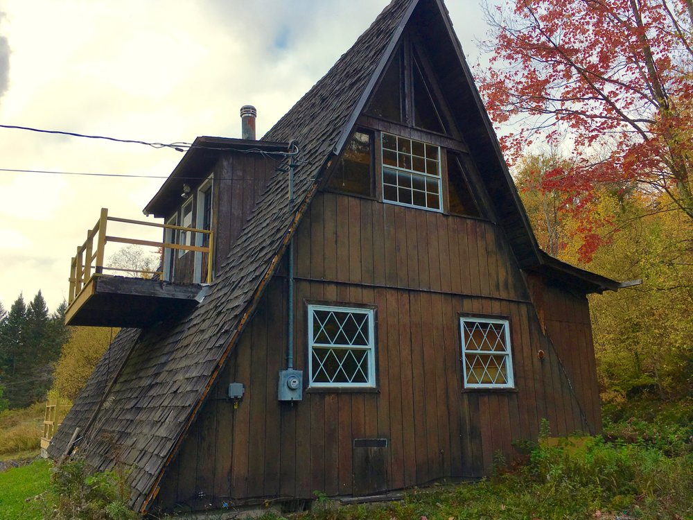Rear view of a-frame house