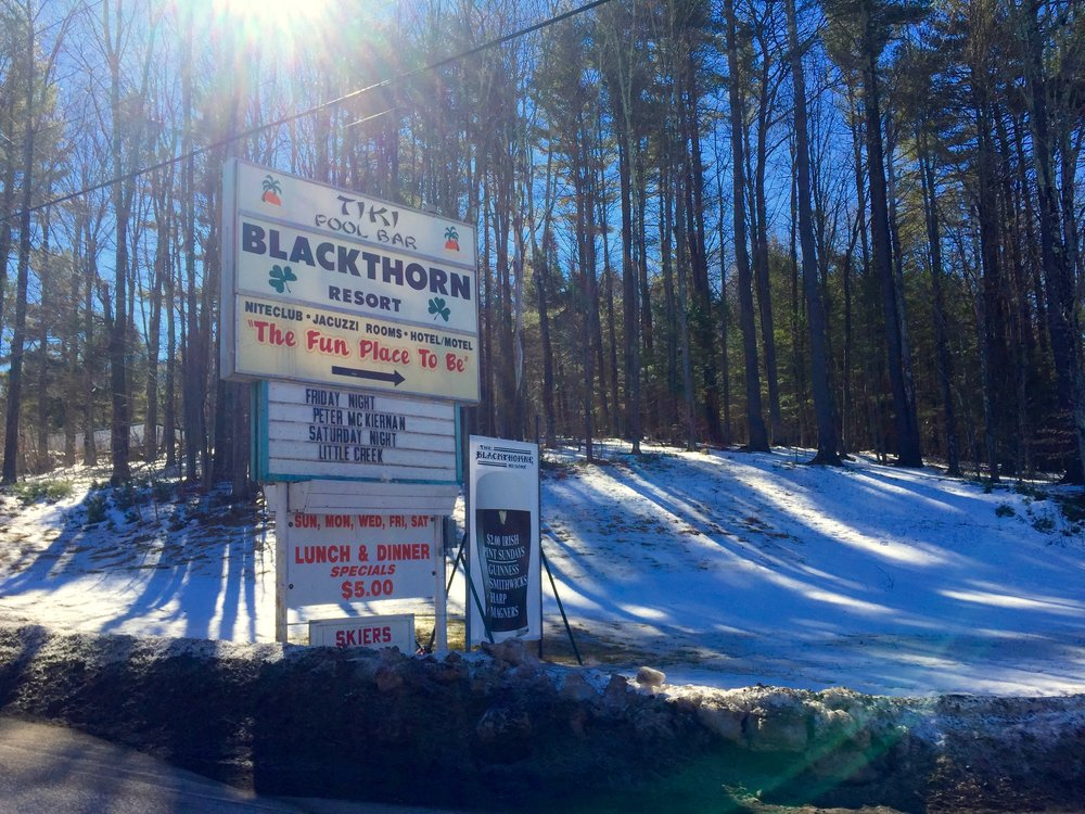 The  Blackthorn Resort  in East Durham stays open all winter, with live music every weekend.