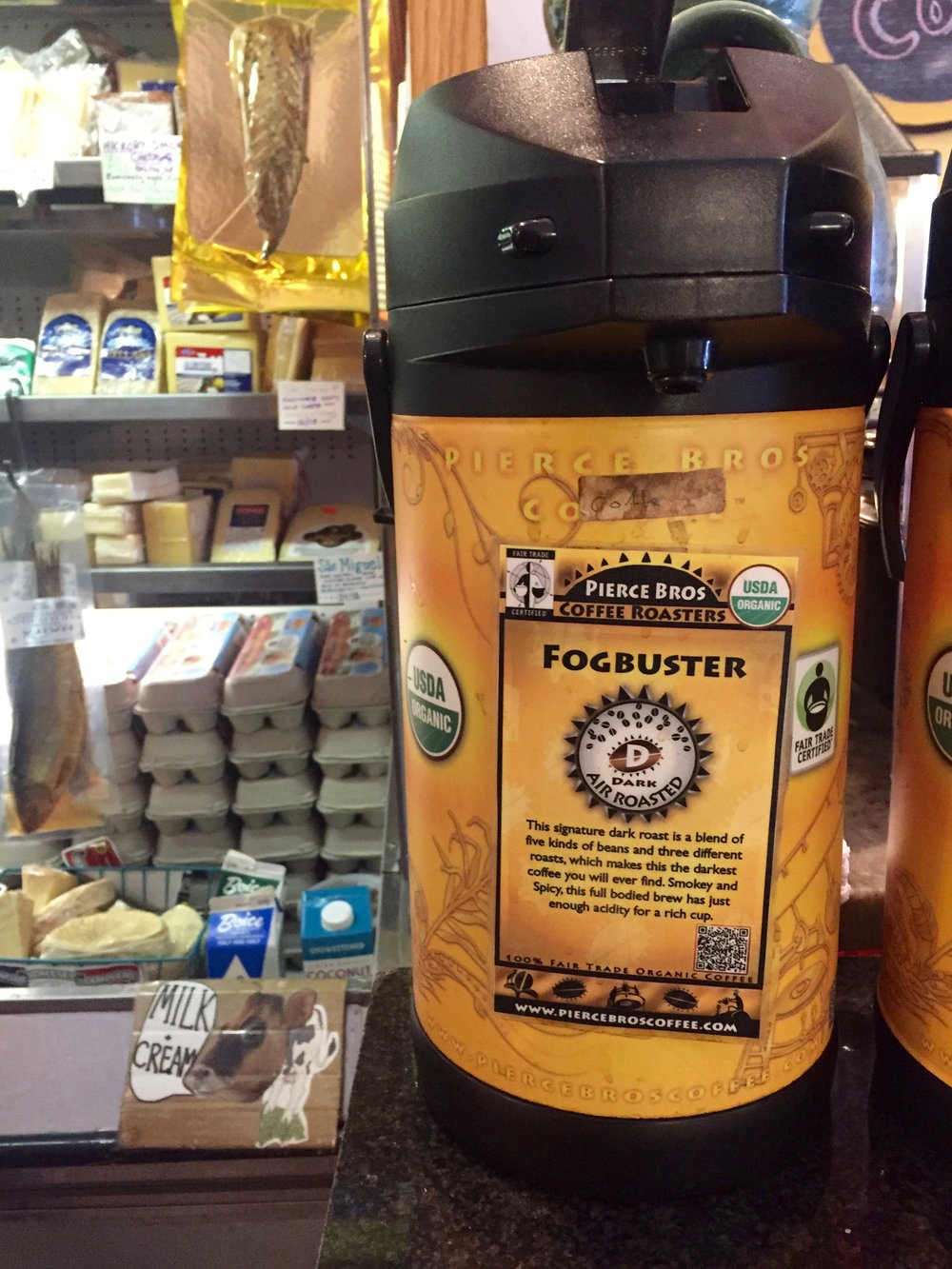 Fogbuster coffee and fine cheeses at The Big Cheese, Rosendale, NY
