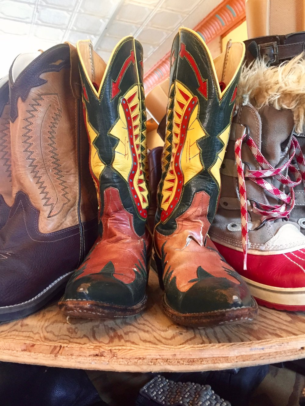Vintage cowboy boots at The Big Cheese in Rosendale, NY