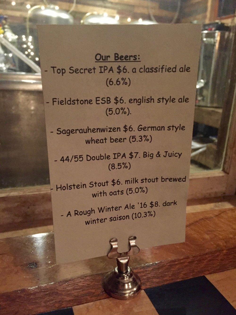 Beer menu at Kerhonkson's Rough Cut Brewing Co