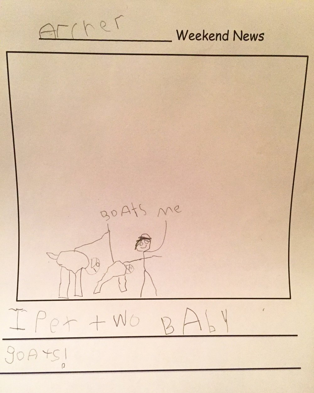The goats were the highlight of Archer's weekend. He wrote about them in his Weekend News and excitedly shared his experience with his Brooklyn kindergarten class on Monday morning.