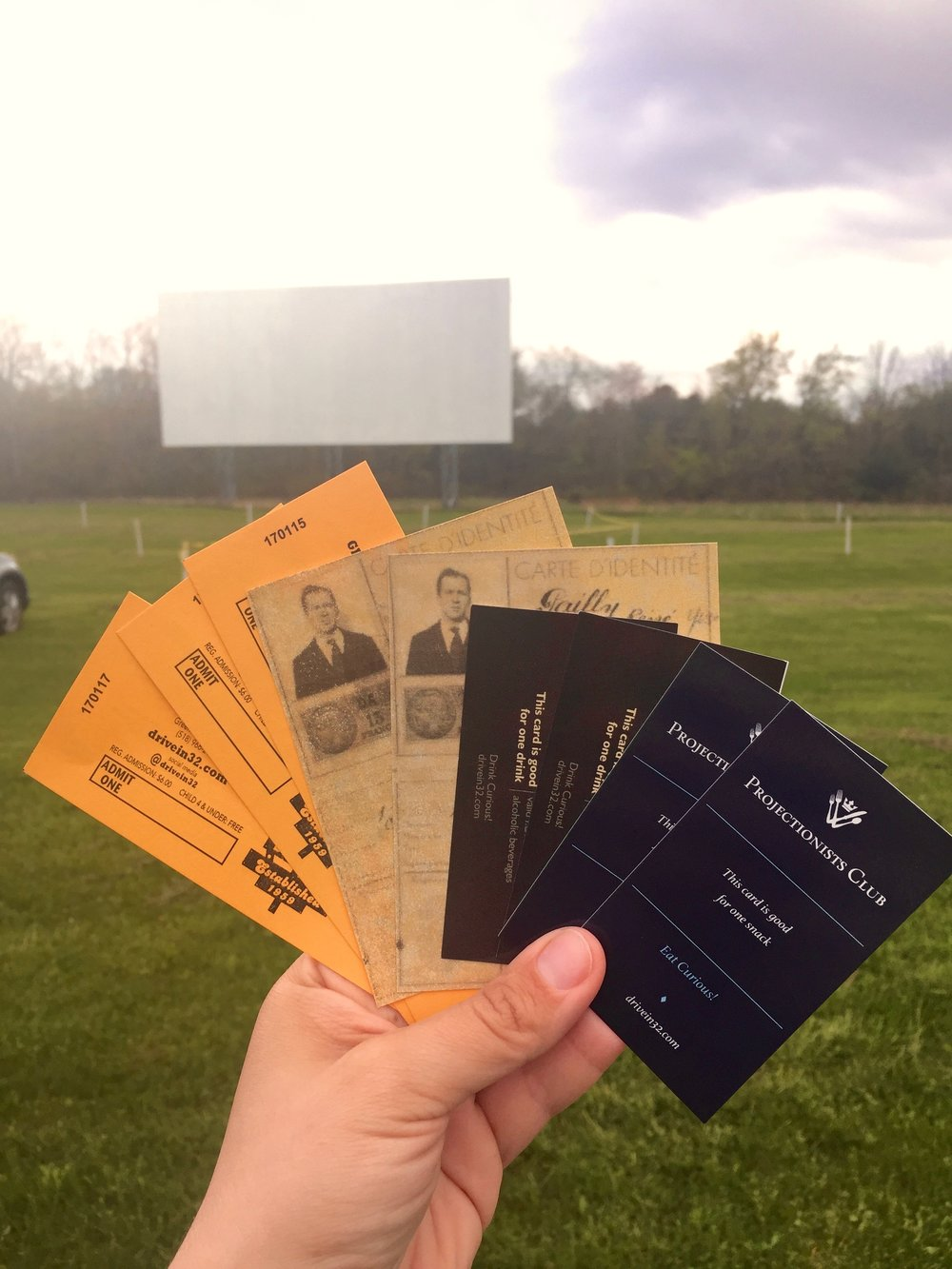 "The Greenville Drive-In's well-designed movie tickets,  Casablanca -inspired ""papers,"" snack tickets and drink tickets."
