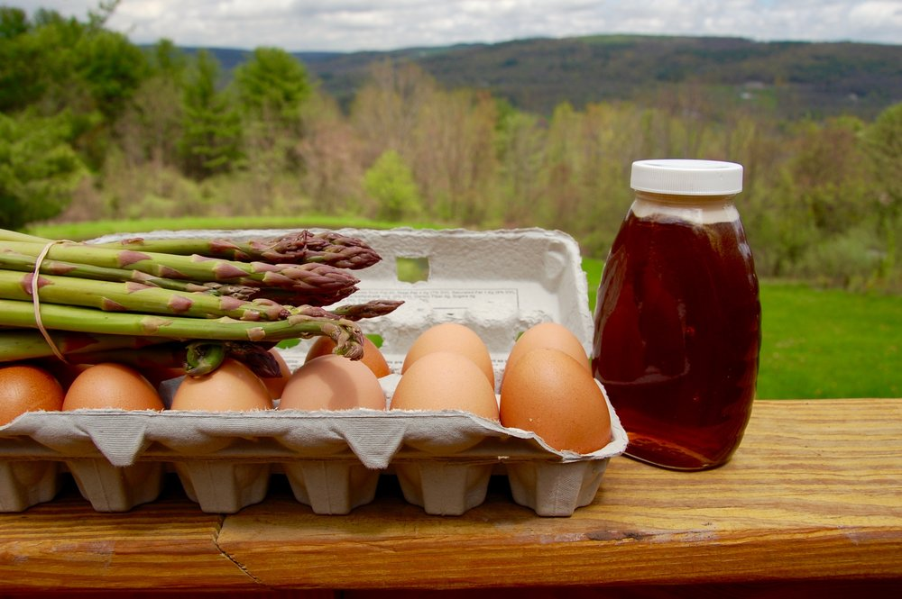 Asparagus, eggs, and honey from East Durham Farms