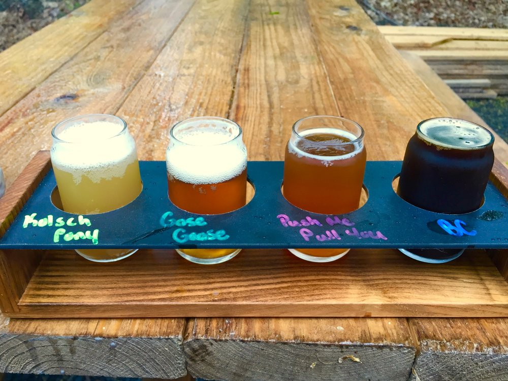 Hop Barn's tasting flight, priced at $6.