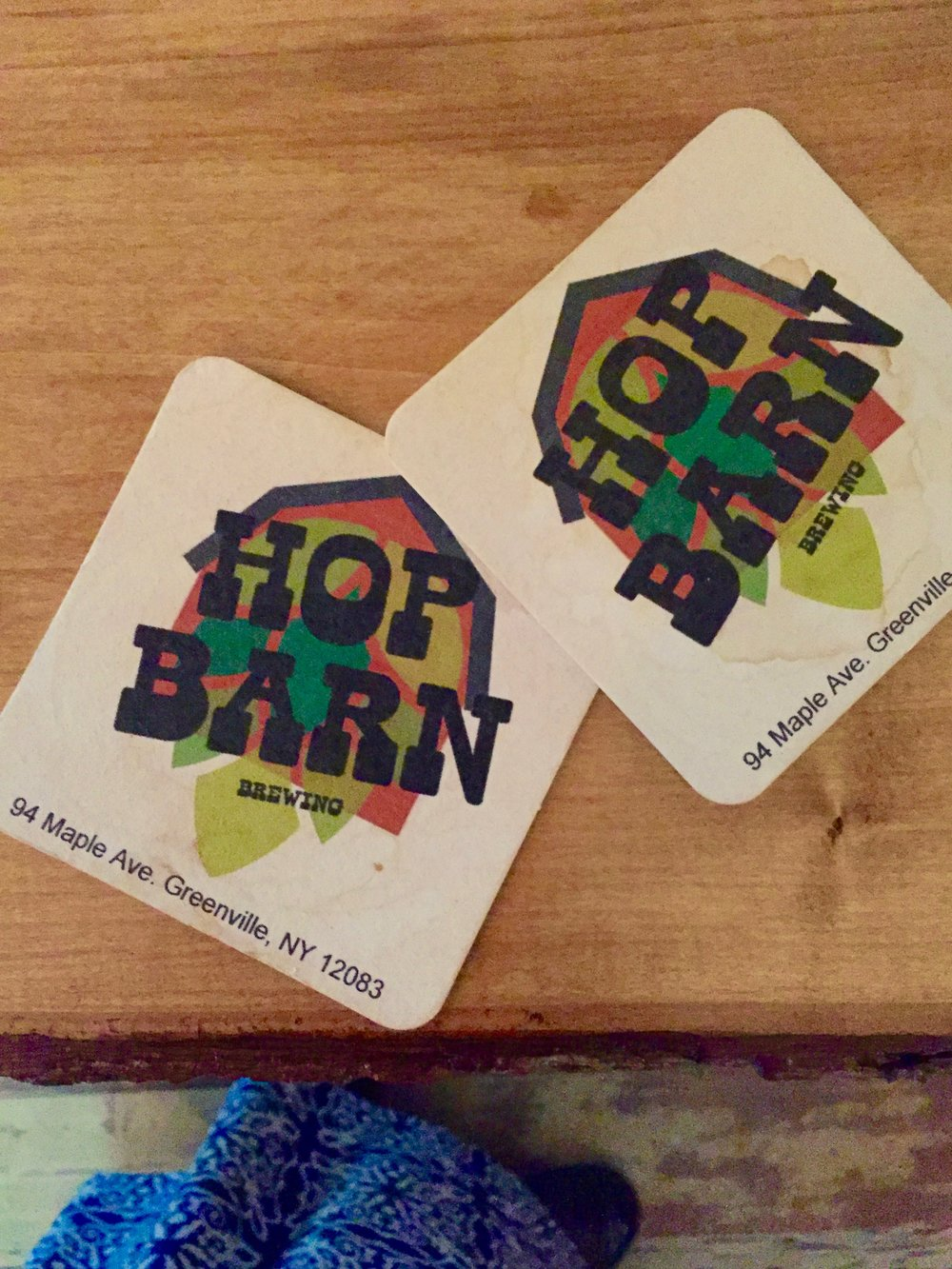 Hop Barn's custom coasters.