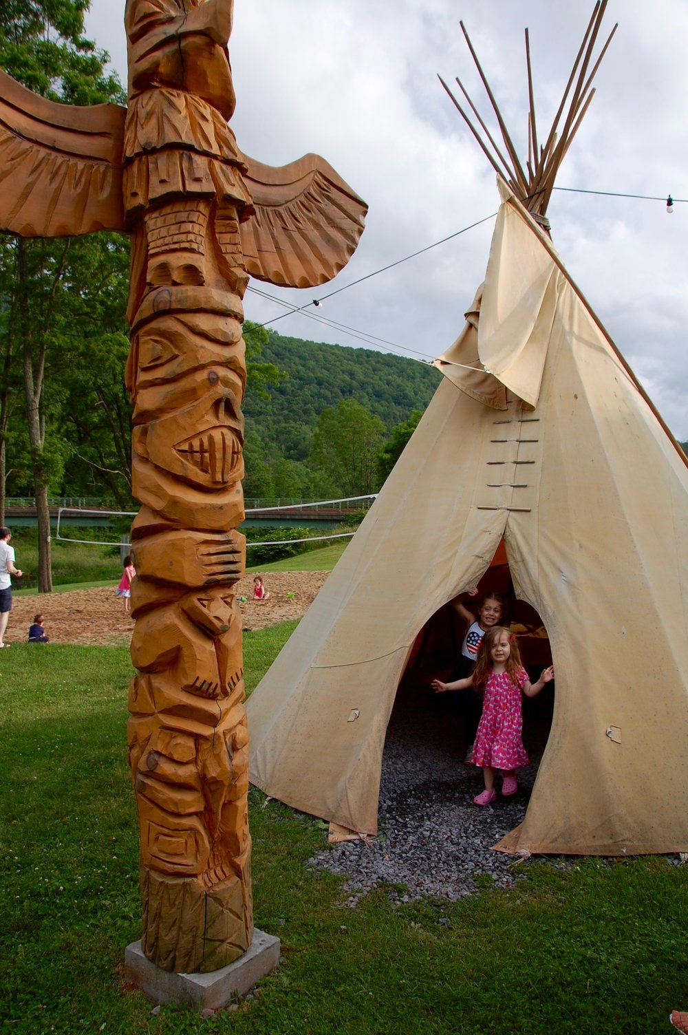 Giant, kid-friendly teepee in the backyard of Windham's Chicken Run