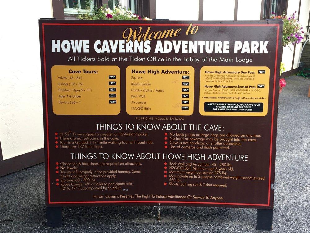 howe caverns rules