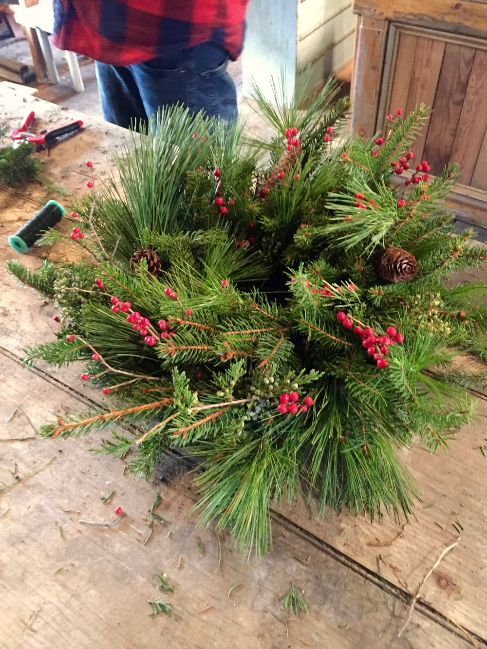 wreath making workshop by todd car at hort and pott