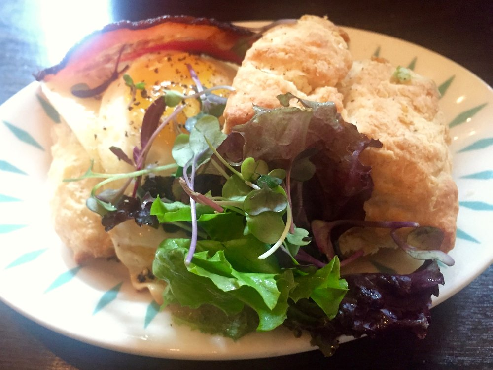 Catskill Pines, Mount Tremper brunch, bacon and egg biscuit