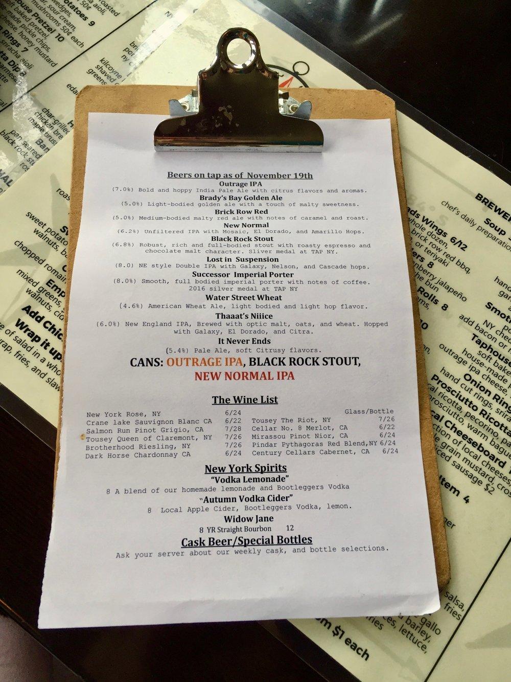 Beer menu at Crossroads Brewing in Athens, NY