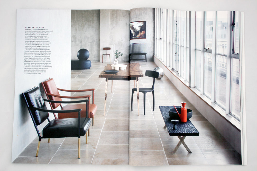 Elle Decoration October 2016 - Cool Britannia   featuring:  S    mall Green Marble Sthan  &  Slate Pyala