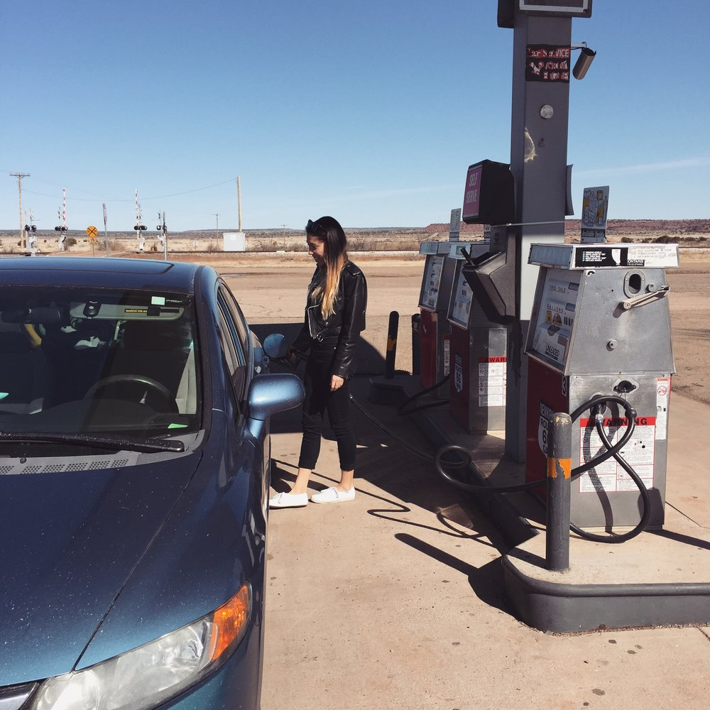 The second day on my trip across the country - moments later gas spilled all over me.