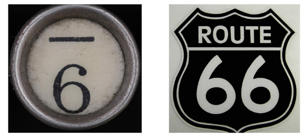 Logo Inspiration: Type writer key #6 and historic route 66 sign