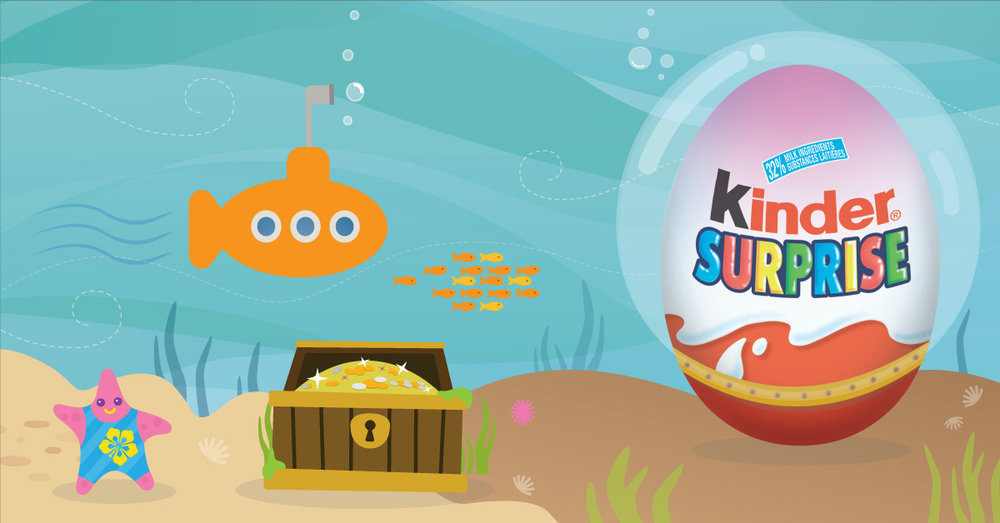 Copy: Dive beneath the waves and search for sunken treasure with KINDER® SURPRISE®!