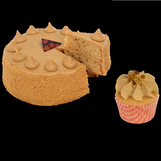 Canadian Maple Nut Fudge Cake and Cupcake. Available NOW!  An aromatic combination of maple and walnut in a sponge cake, filled and frosted with maple fudge frosting and topped with a stylish patterned chocolate wedge