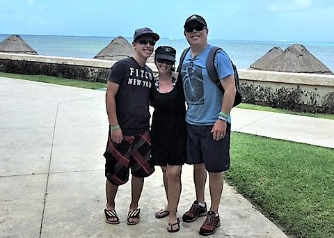 Chad, his wife Debbie, and his son Ethan on vacation