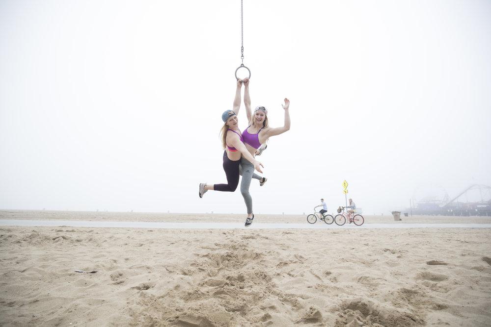 Having fun at Muscle Beach, LA. pic:   BEARCAM MEDIA