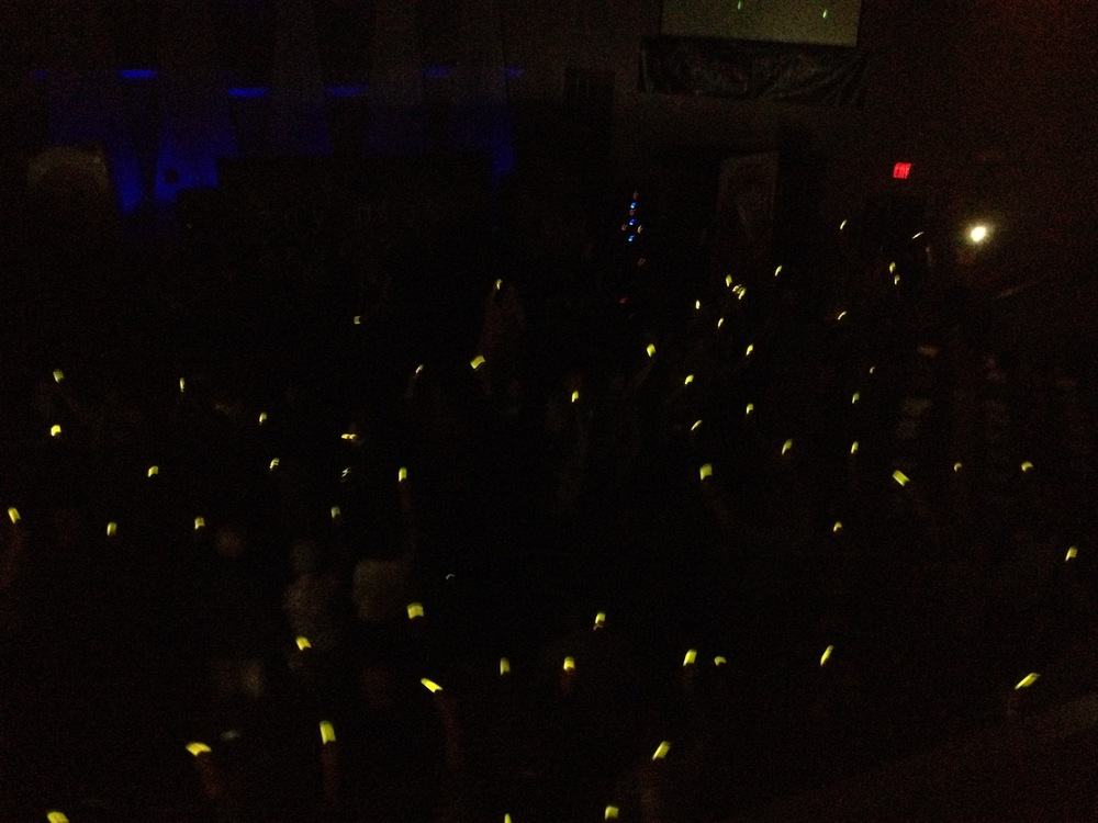 Missions Service, highlighting the missionaries through glowsticks! This represented these amazing people being light in a dark world.