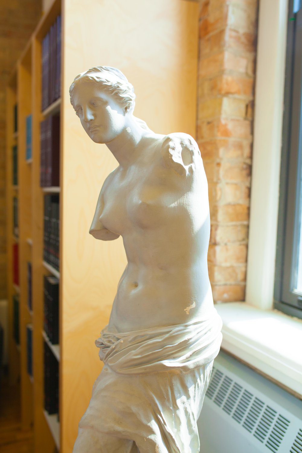 In the other section of the library (on the ground floor) one can check out magazines and this sculpture.