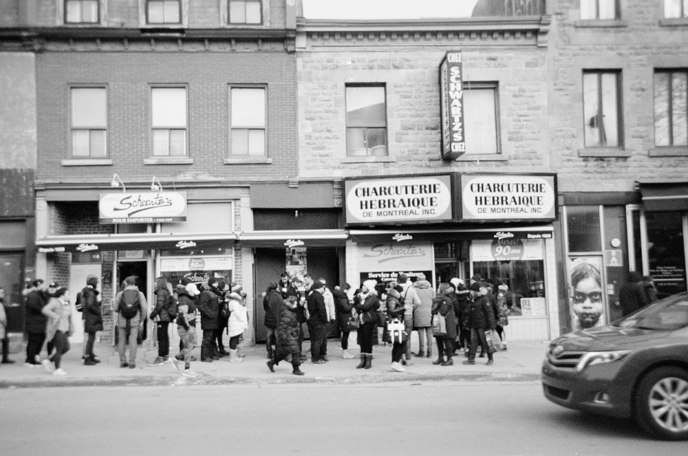 Lineup outside of Schwarte's - Ilford XP2