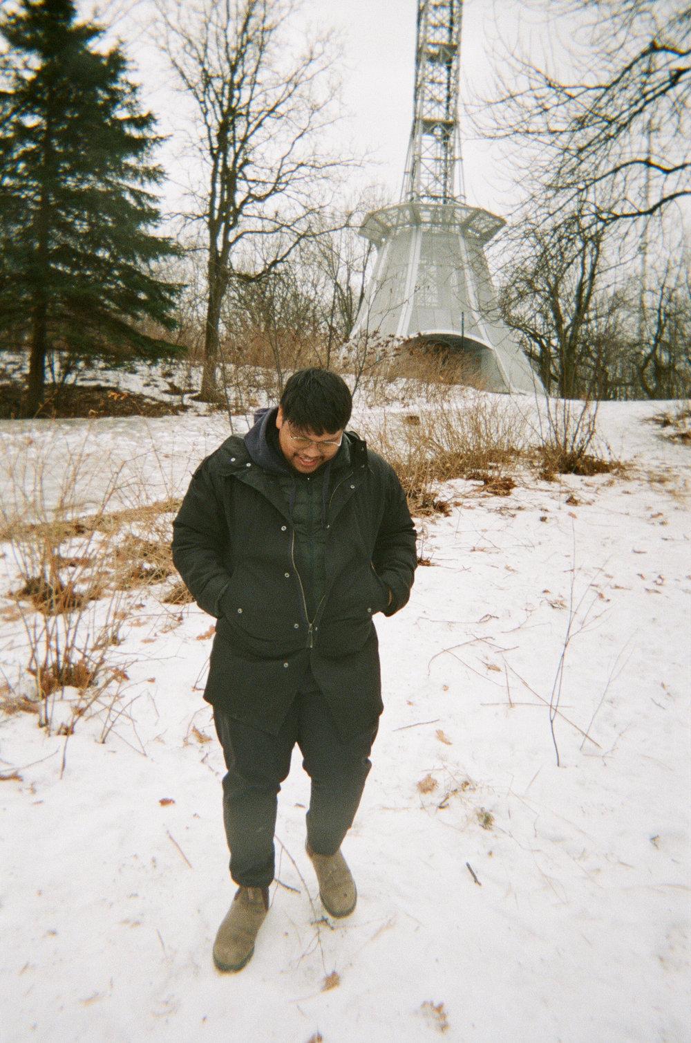 Andrew at Mount Royal Cross - Kodak Funsaver