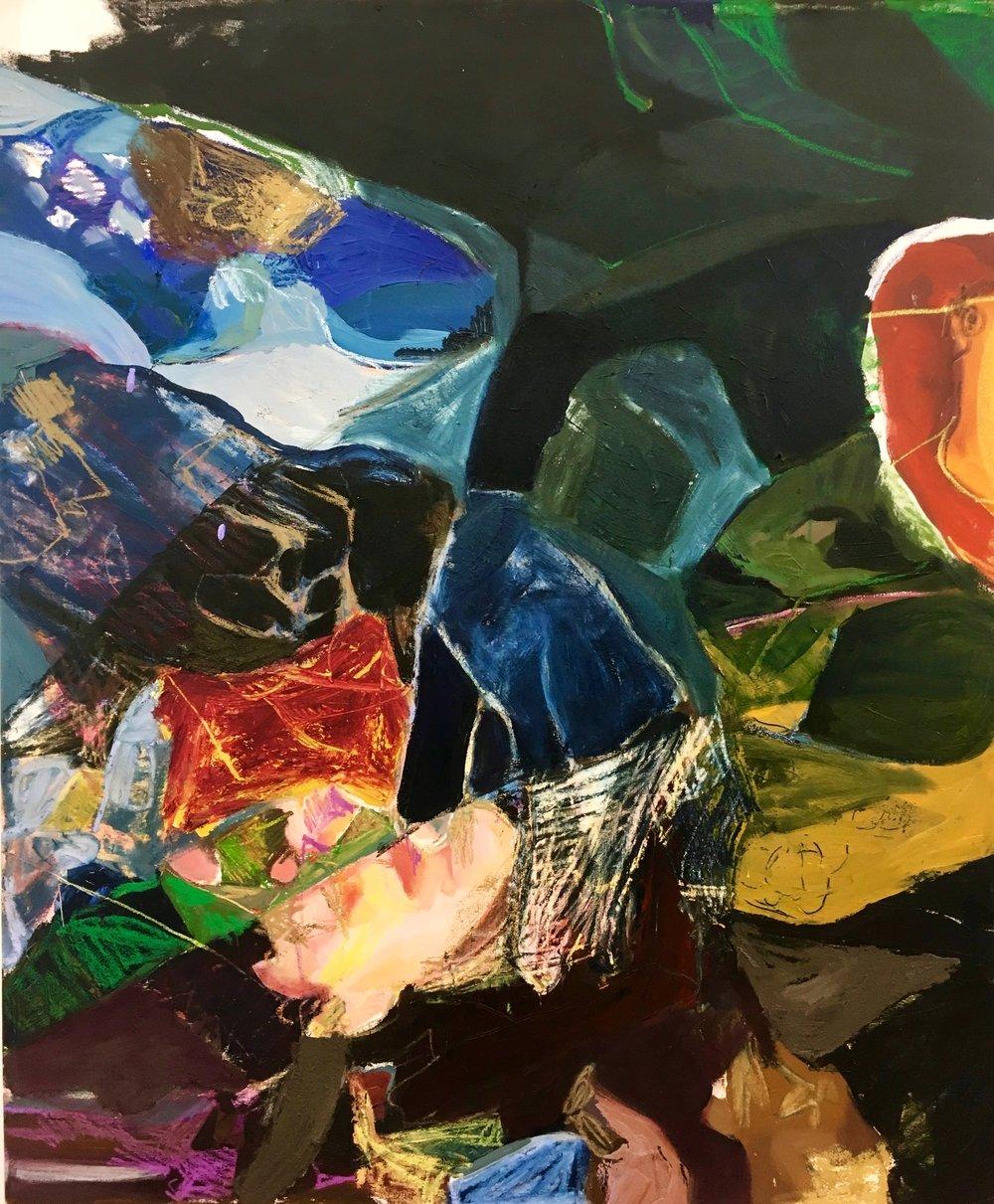 Untitled (spaghetti)  Oil, Bar on Canvas  48 x 59 IN  2018