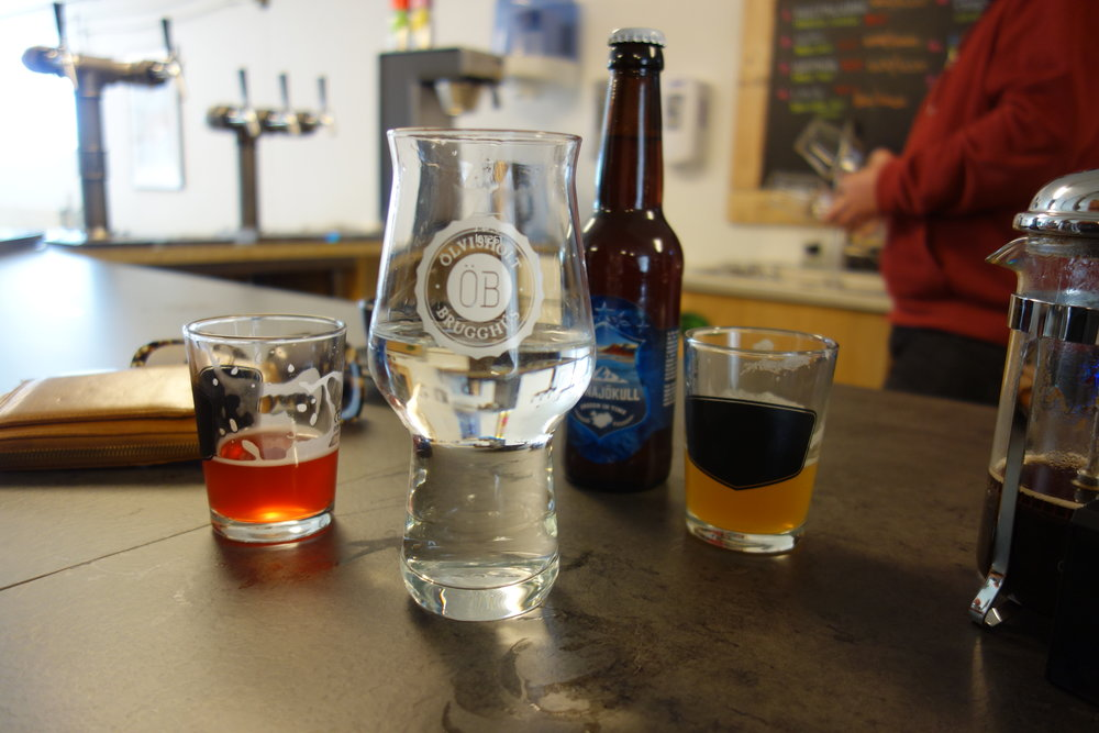 Olvisholt Brewery, from left to right: Skyr and blueberry beer, sulfur water, beer made with glacial ice, IPA