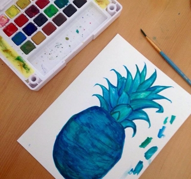 Pineapple Street Designs in Process Teal Watercolor Logo Painting