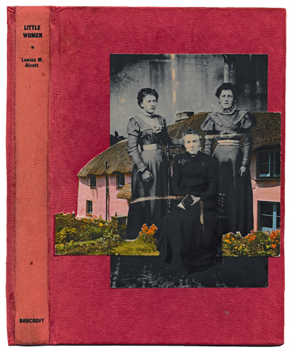 Little Women 2016  Found photograph and old postcard collage on book cover  SOLD