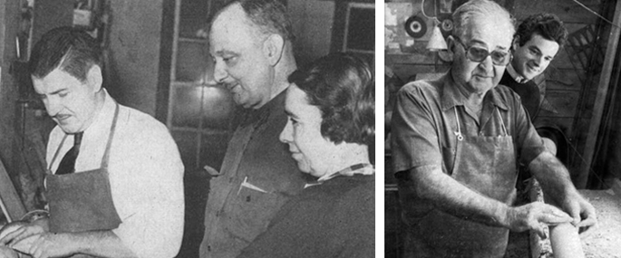 The photos above (left) of Mr. and Mrs. Leonard (with an unidentified gentleman), taken in 1953, appeared in Antique Dealer Magazine. (right) A young Jeff Jenkins watches craftsman Doug Miranda at work on a lathe in the Leonards workshop in 1978.